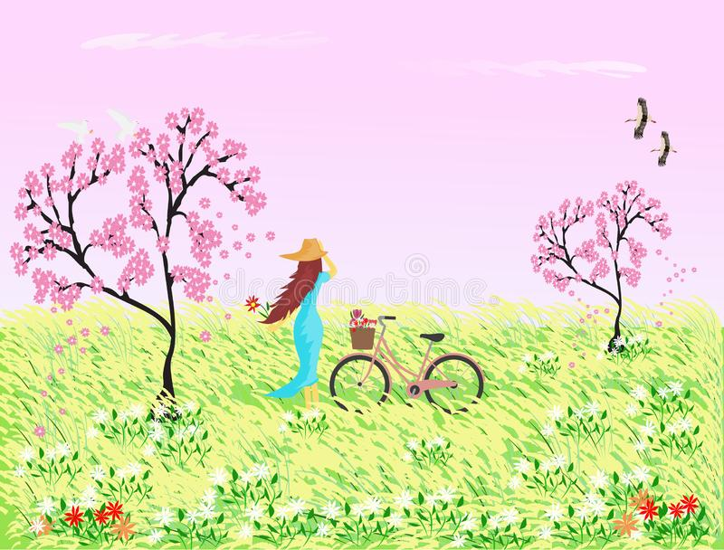 Woman in blue skirt wearing a hat with a bicycle standing in a field with reed flowers and Sakura tree. The pink sky as the background vector illustration