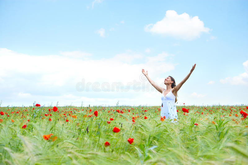 Woman And Blue Sky Stock Images