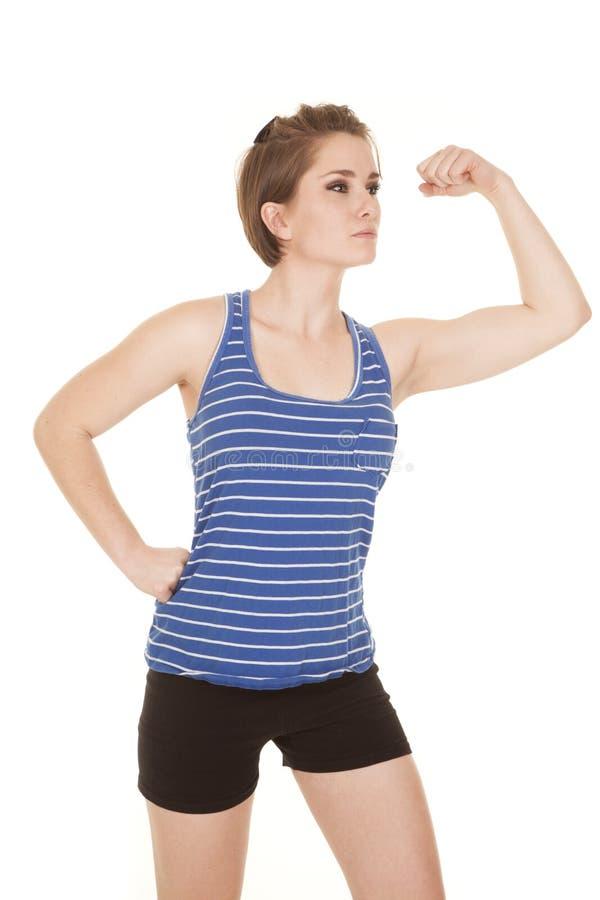 Download Woman Blue Striped Tank Fitness Flex Stock Photo - Image: 35573832
