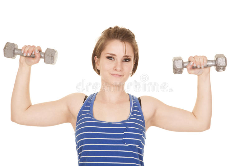 Download Woman Blue Striped Tank Fitness Flex Looking Stock Images - Image: 35573764