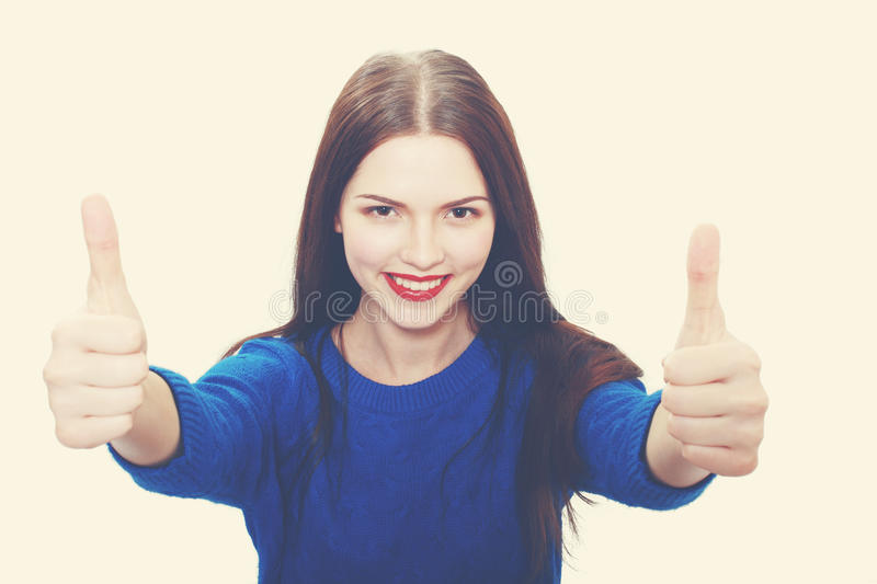 Woman in blue sweater stock photography
