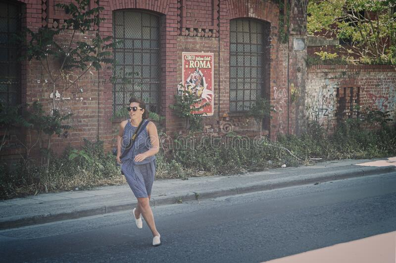 Woman In Blue Tank Dress Running On Road Free Public Domain Cc0 Image