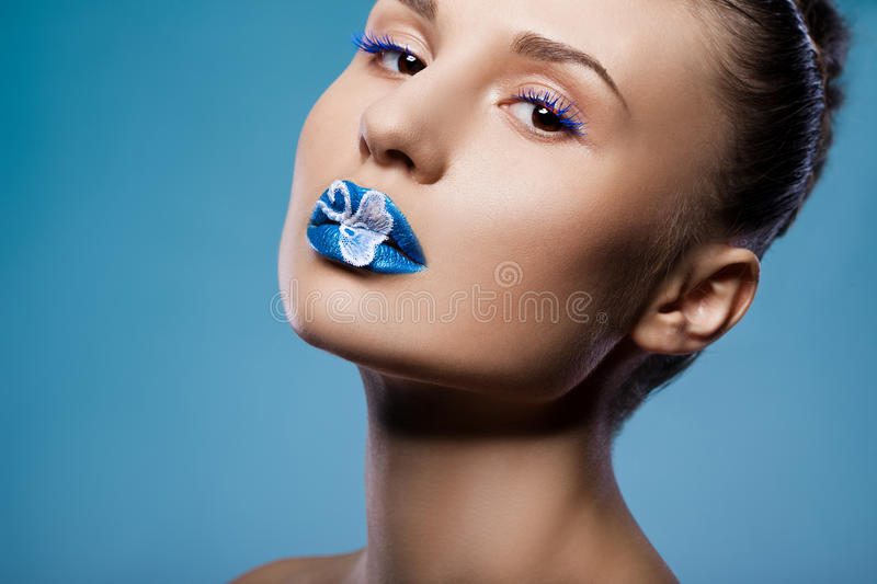 Download Woman with blue visage stock image. Image of adult, beautiful - 29028755