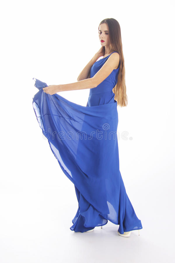 Woman in blue on white royalty free stock image