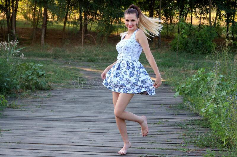 Woman In Blue And White Skated Dress Free Public Domain Cc0 Image