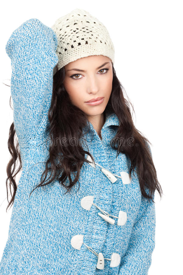 Download Woman In A Blue Wool Sweater Stock Image - Image of healthy, nature: 22417645