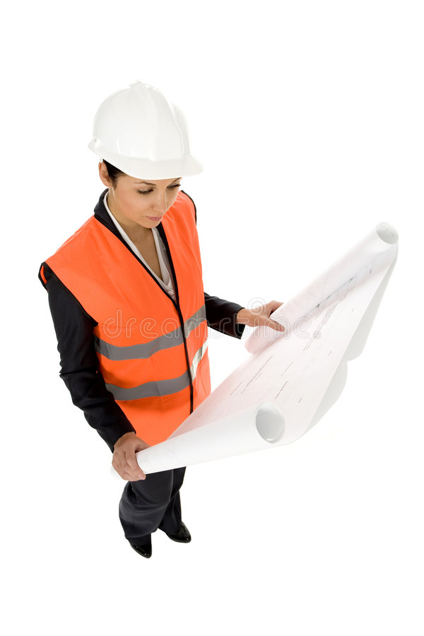Download Woman with Blueprints stock image. Image of elevated, angle - 6937957