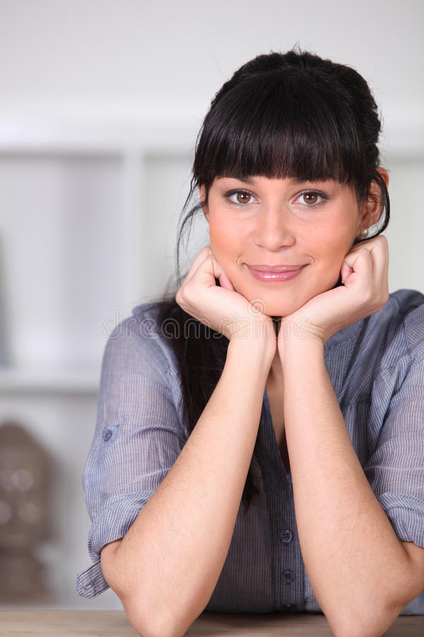 Woman with a blunt fringe royalty free stock images