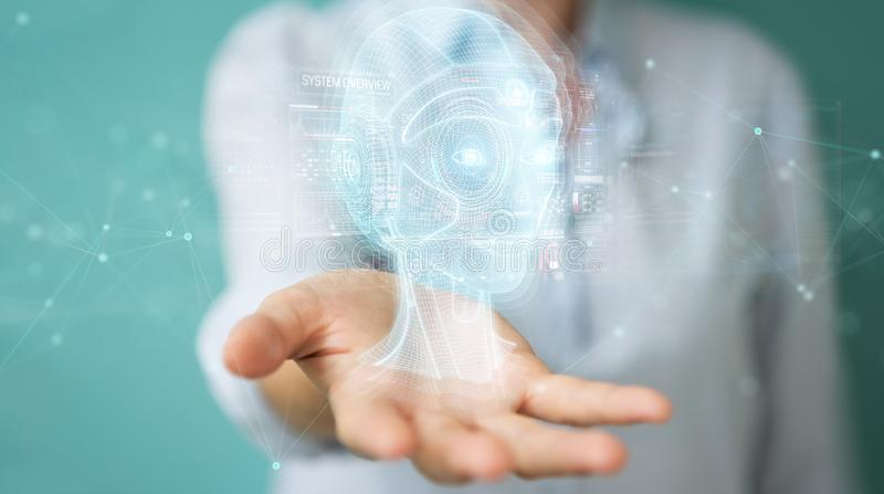 Woman using digital artificial intelligence head interface 3D rendering. Woman on blurred background using digital artificial intelligence head interface 3D vector illustration