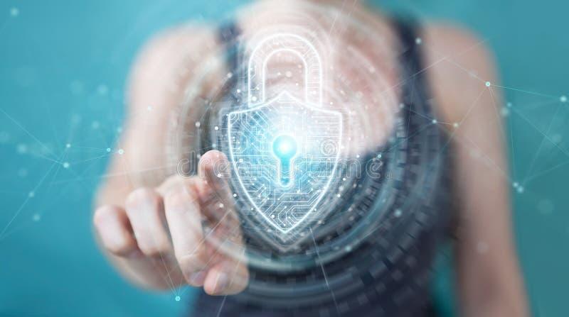 Womanusing digital padlock security interface to protect datas 3D rendering vector illustration