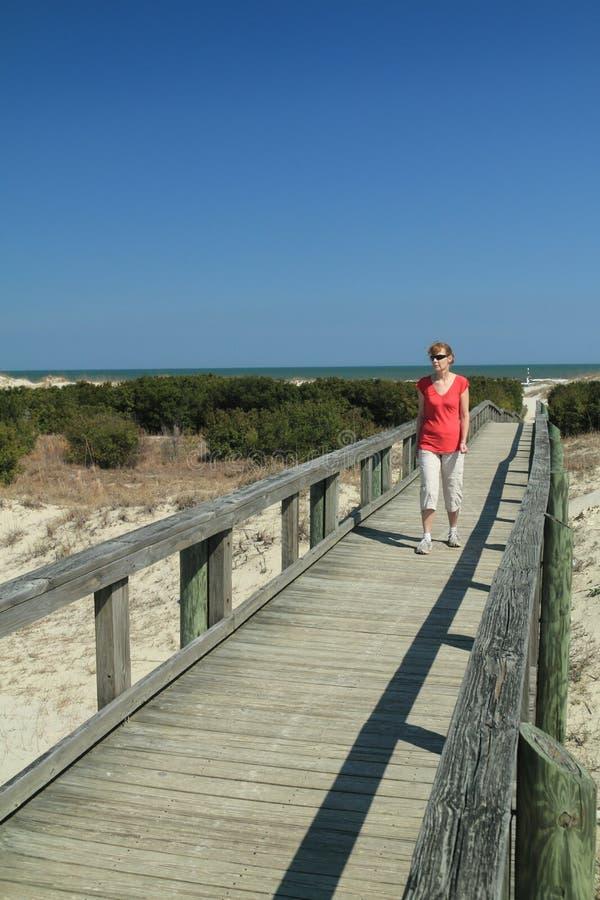 Woman On Boardwalk - Cumberland Island, Georgia Stock Photos