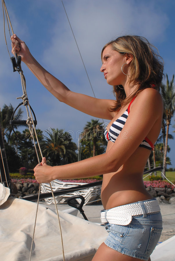 Woman in a boat stock images