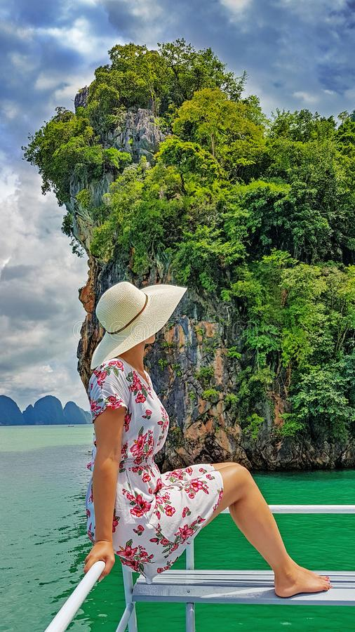 Woman on boat trip. Woman on the boat trip in Phang Nga in Phuket royalty free stock photos