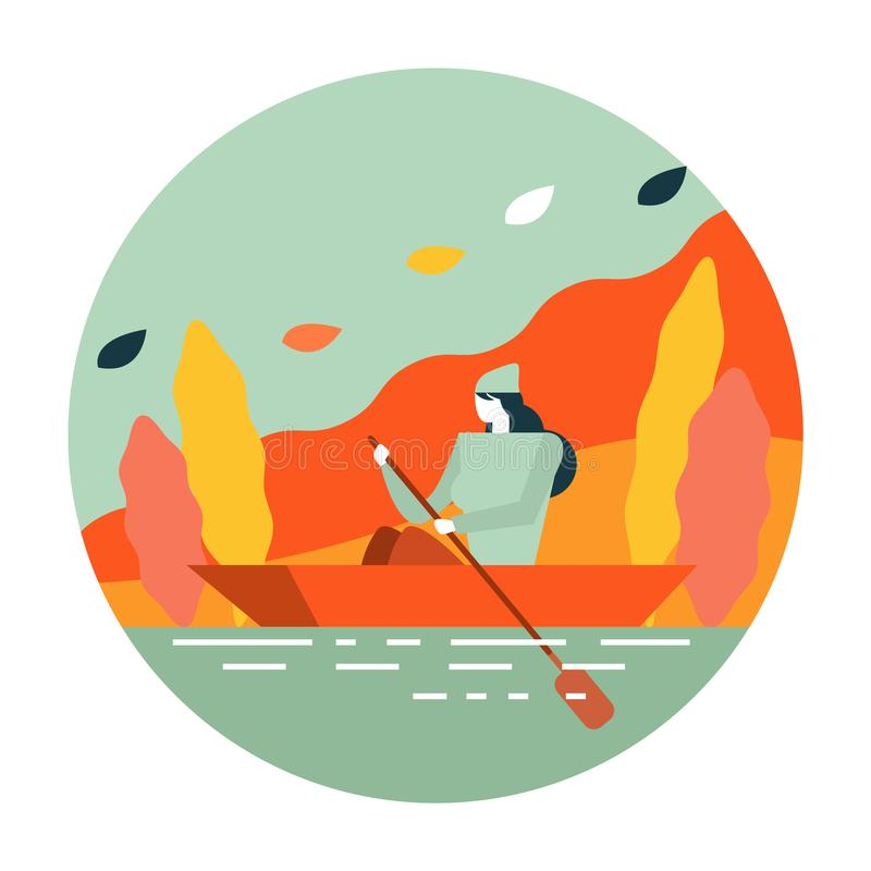 Woman boating in river. Autumn scenery and activity. flat icon design. illustration vector royalty free illustration