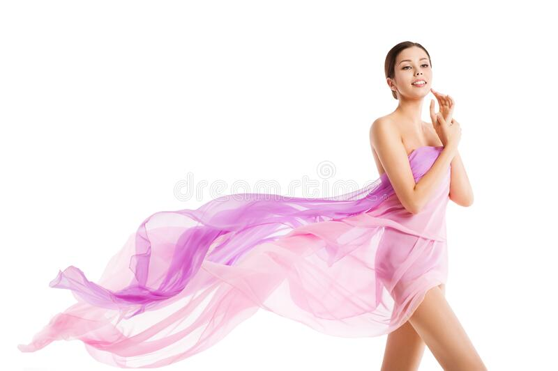 Woman Body Beauty, Beautiful Girl in Fluttering Silk Pink Cloth on White, Health and Skin Care Concept royalty free stock photo