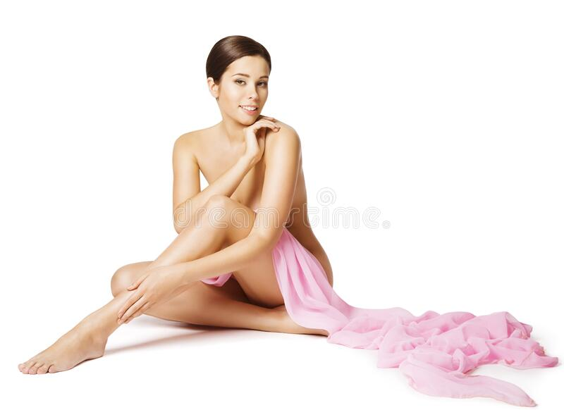 Woman Body Beauty Care, Beautiful Sexy Girl Sit on White, Skin Health and Treatment Concept stock images