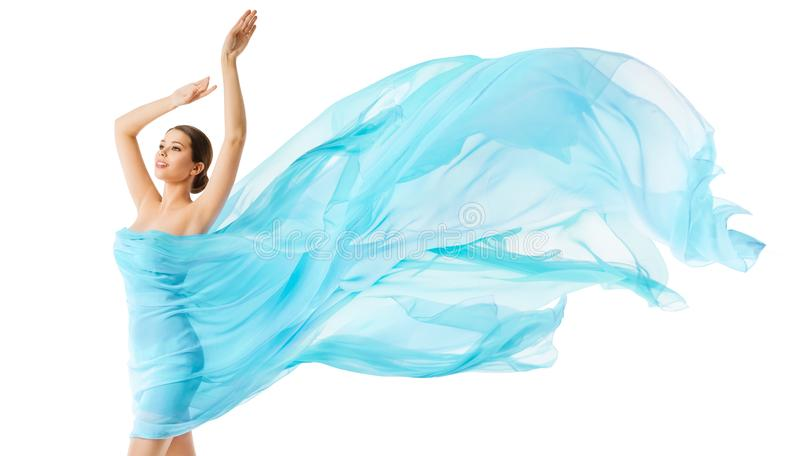 Woman Body Beauty Flying Blue Cloth, Fashion Model in Long Waving Dress, Girl in Fluttering Fabric. Over White Background stock photo