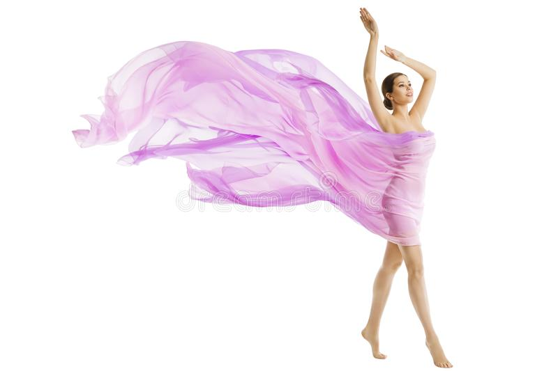 Woman Body Beauty, Model Dressed in Silk Pink Flying Fabric. Fluttering on Wind, Young Girl Walking over White Background stock images