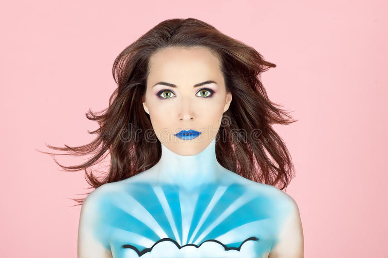 Woman with body painted to look like the sky royalty free stock images