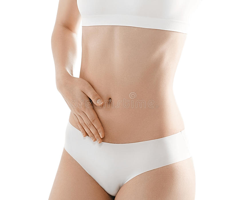 Woman body. Stomach hand woman studio on white royalty free stock images