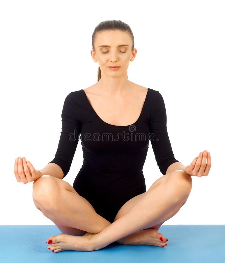 Meditating concept on white royalty free stock photos