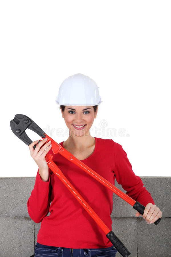Woman with bolt-cutters royalty free stock image