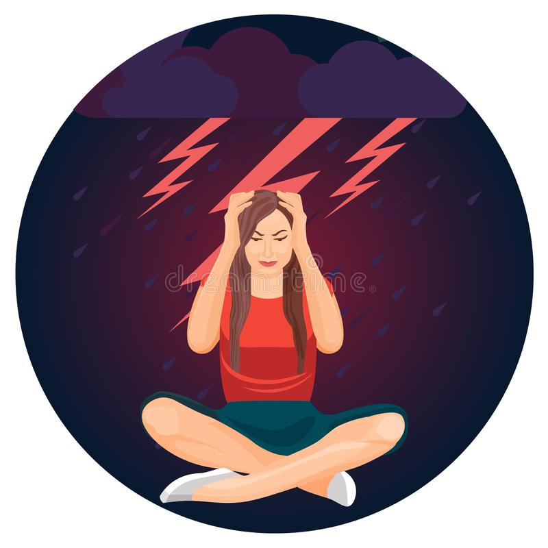 Woman and bolts representing depression on vector illustration royalty free illustration