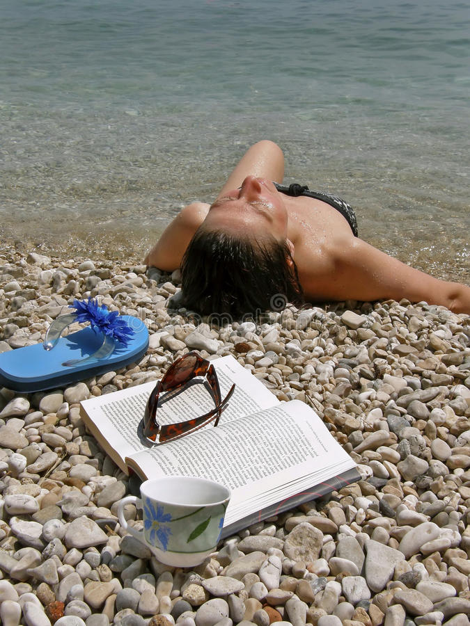 Download Woman with book on beach stock photo. Image of lake, adult - 10105750