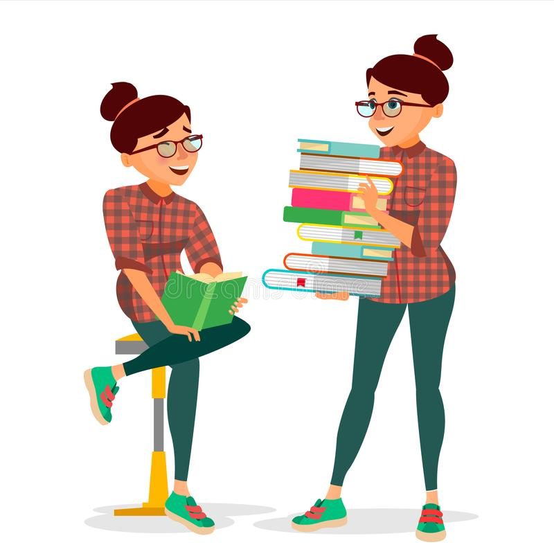 Woman In Book Club Vector. Carrying Large Stack Of Books. Studying Student. Library, Academic, School, University. Concept. Isolated Cartoon Illustration royalty free illustration