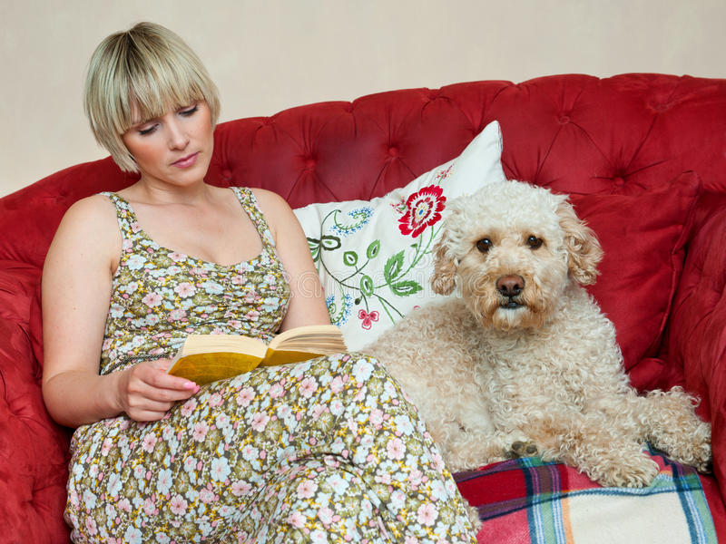 Woman with book and dog royalty free stock image