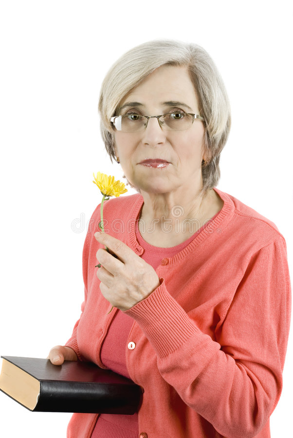 Woman with book and flower royalty free stock image