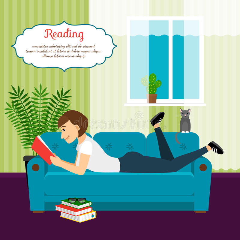 Woman with book on sofa royalty free illustration