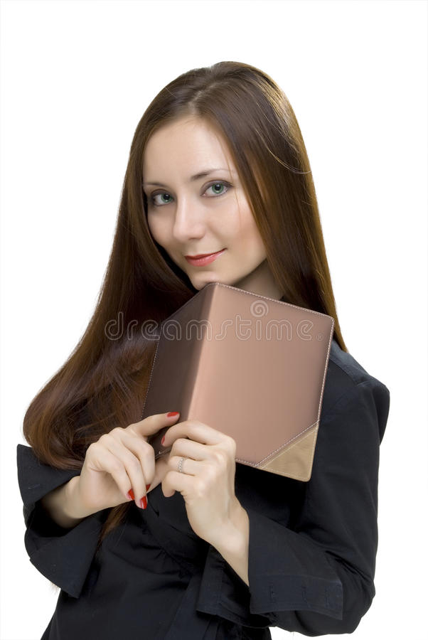 Woman with book on white background royalty free stock photo