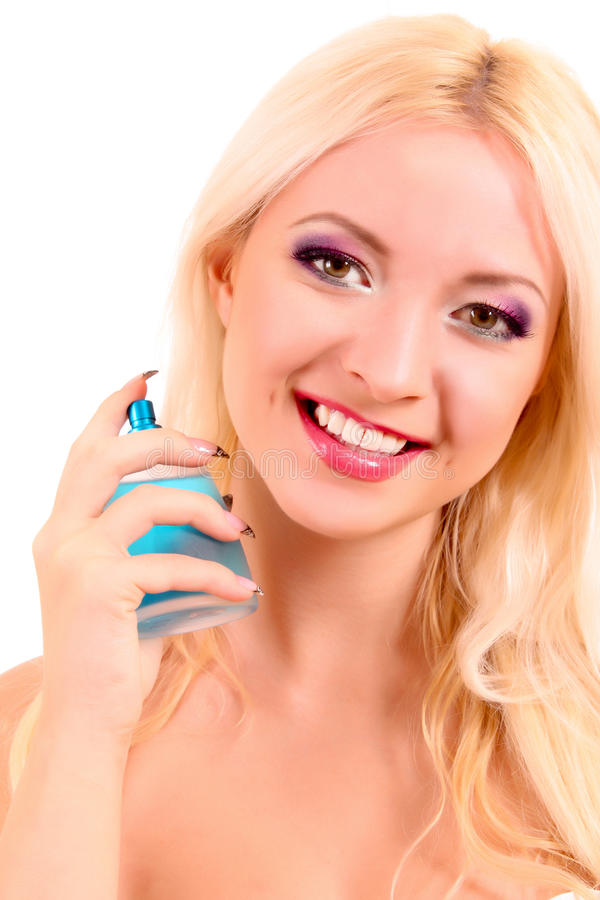Download Woman With Bottle Of Perfume In The Hand Isolated Stock Image - Image: 18089461
