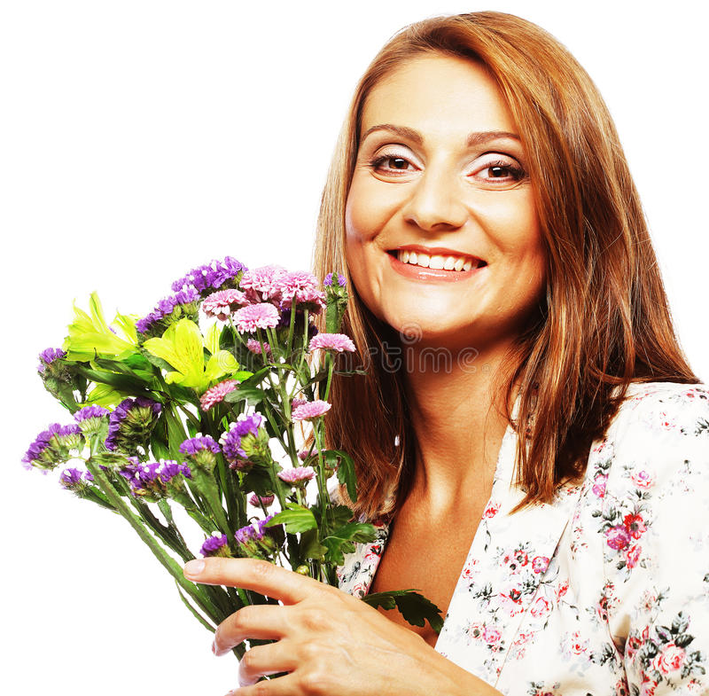 Download Woman with bouquet flowers stock image. Image of copy - 39509291