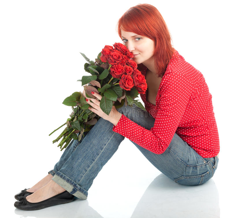 Download Woman With A Bouquet Of Red Roses Stock Image - Image of contact, pretty: 17953709