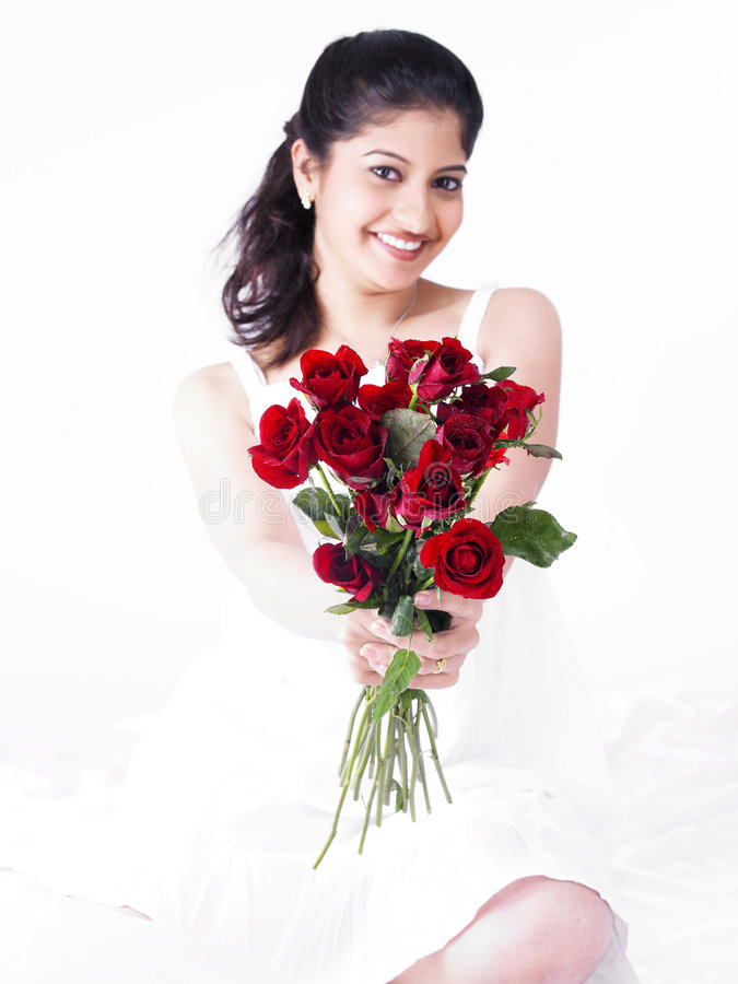 Download Woman With A Bouquet Of Roses Stock Image - Image: 7386209