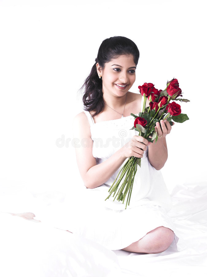 Download Woman With A Bouquet Of Roses Royalty Free Stock Photos - Image: 7387408