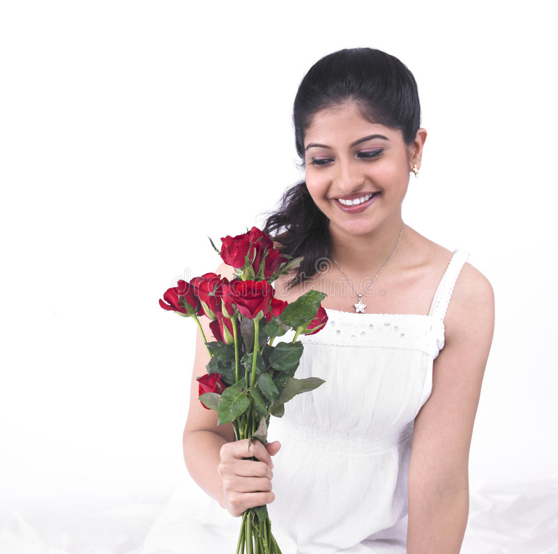 Download Woman With A Bouquet Of Roses Stock Photo - Image: 7387496