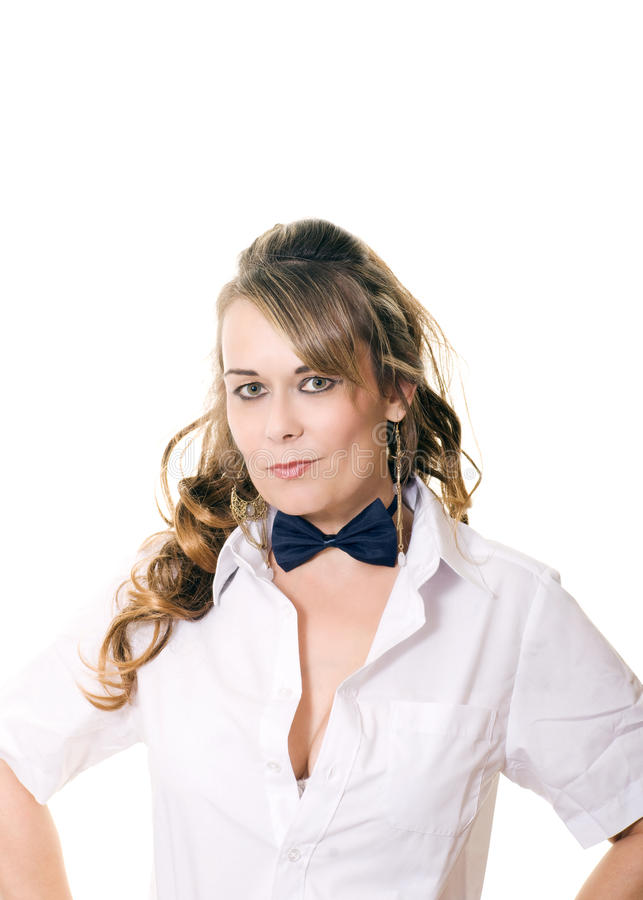 Download Woman in bow tie stock photo. Image of beauty, woman - 21510410
