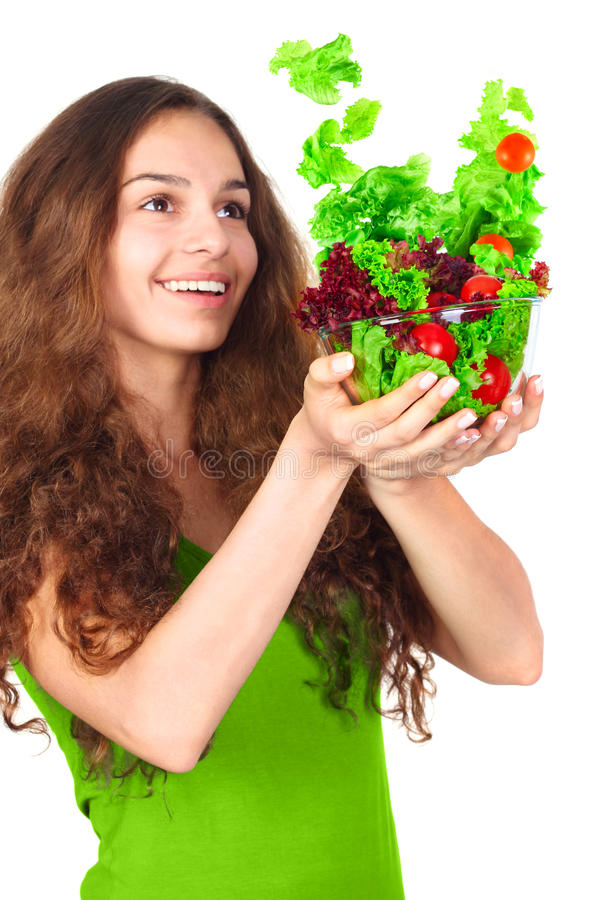 Woman with bowl of salad stock images