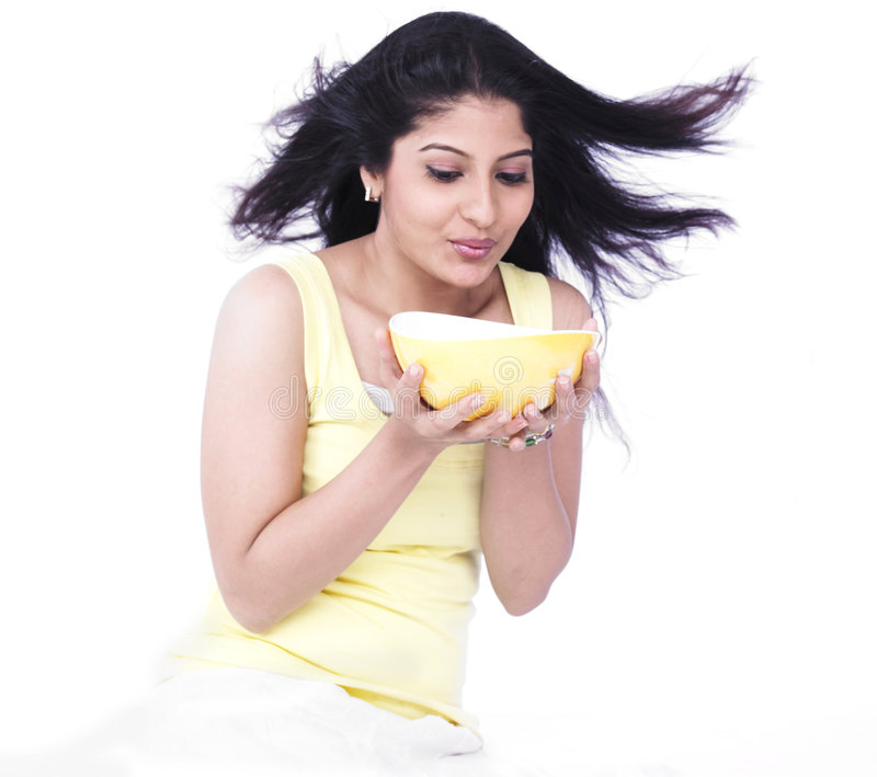 Download Woman With A Bowl Of Soup Stock Images - Image: 7386914