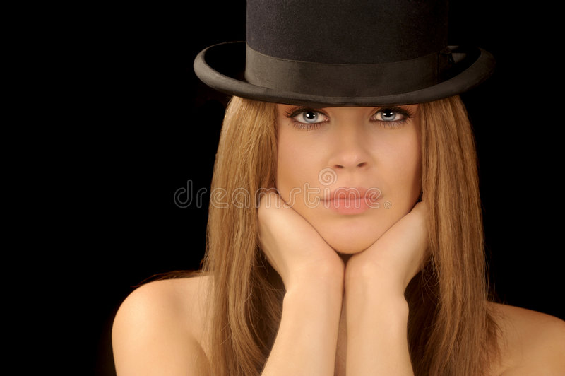Woman in bowler hat stock photo