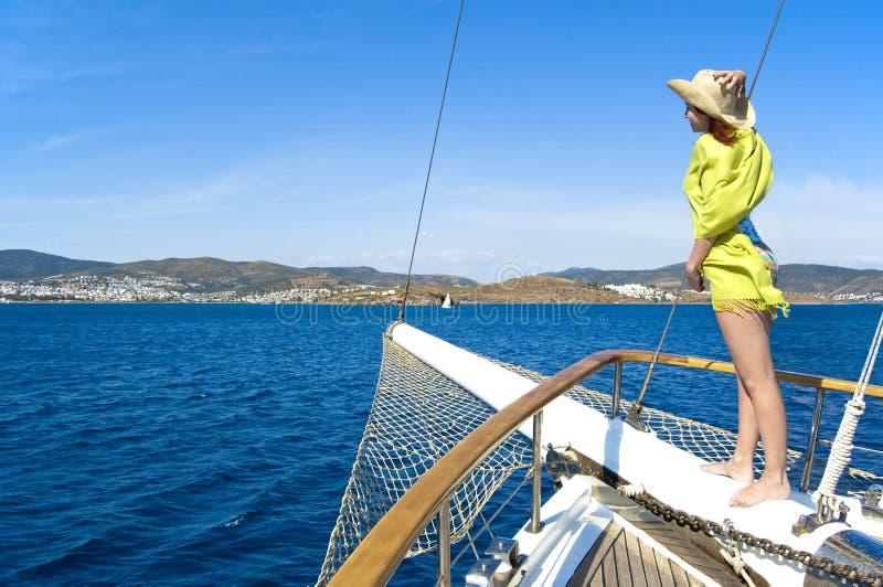 Download Woman on bowsprit stock photo. Image of deck, bowsprit - 26405312