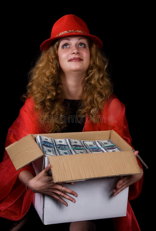 Download The Woman And A Box Of Money Stock Image - Image of finances, curl: 3414085