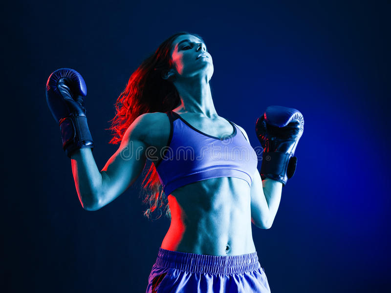 Woman boxer boxing isolated royalty free stock images