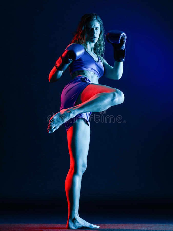 Woman boxer boxing isolated stock photos