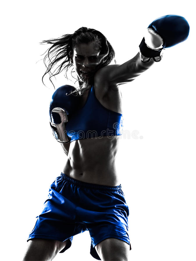 Woman boxer boxing kickboxing silhouette isolated. One woman boxer boxing kickboxing in silhouette isolated on white background royalty free stock photos