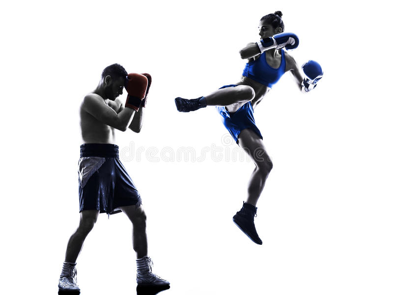 Woman boxer boxing man kickboxing silhouette isolated stock photography