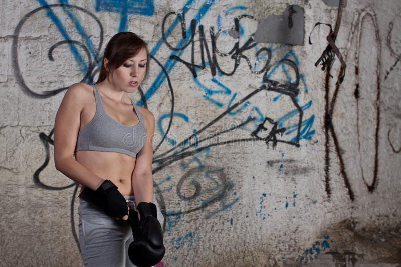 Download Woman with boxer gloves stock photo. Image of grunge - 21133318